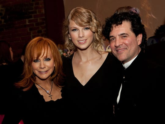 Reba McEntire, Taylor Swift and Scott Borchetta
