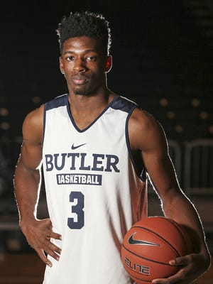 Butler University freshman guard Kamar Baldwin poses for a portrait during media day at Hinkle Fieldhouse, Wednesday, October 26, 2016.
