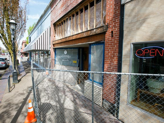 New burger bar Bo & Vine, photographed April 21, is under construction on Liberty Street in downtown Salem. The restaurant expects to open on June 2.