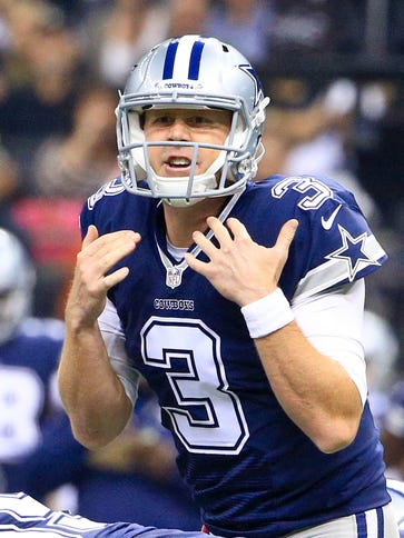 Dallas Cowboys quarterback Brandon Weeden (3) signals