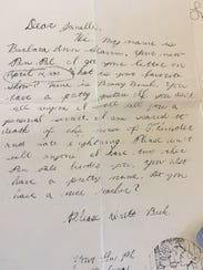 The first letter 9-year-old Barbara Slavin wrote to