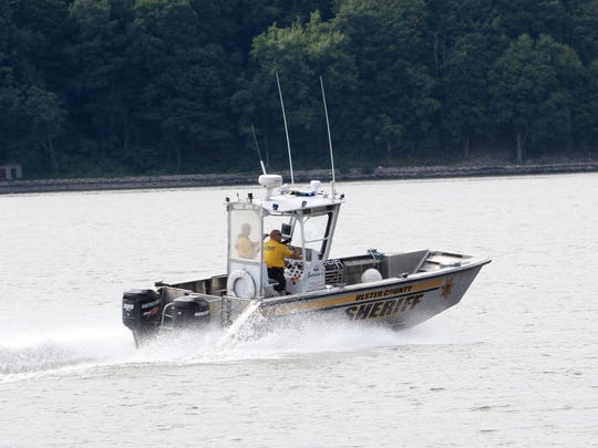 An Ulster County Sheriff's boat leaving the Margaret