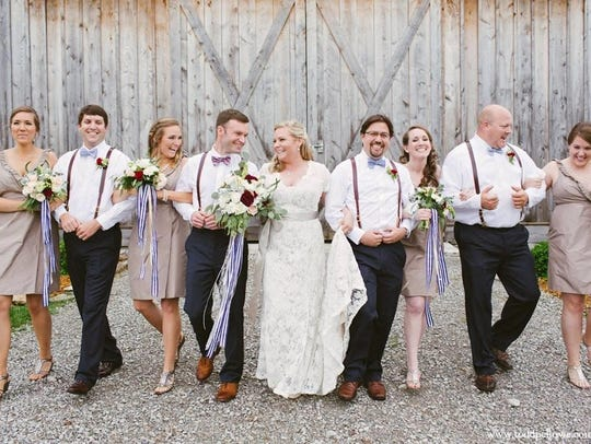 Elegant farm wedding style, with a lace dress from