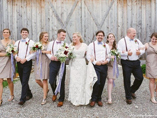 Elegant farm wedding style, with a lace dress from The Bridal Suite of Louisville.