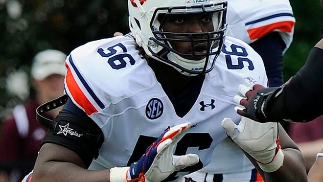 Auburn right tackle Avery Young (56) is a possible 4th-6th round selection in the 2016 NFL Draft and has played guard and tackle at the college level.