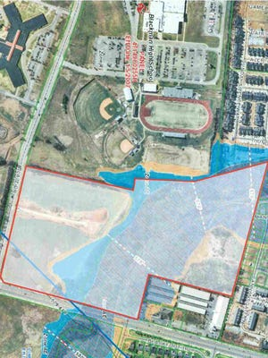 This rendering shows red boundary lines where the Murfreesboro government owns about 43 acres at the northwest corner of Fortress Boulevard and Blaze Drive for a possible park or aquatic center.
