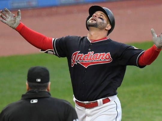 Cleveland Indians first baseman Yonder Alonso celebrates