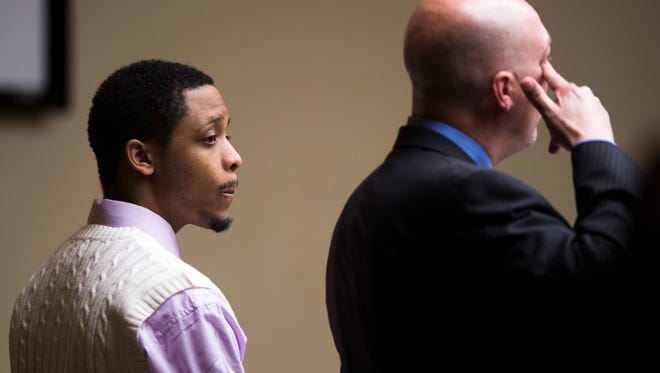 Richard Williams stands in court Wednesday, April 5, 2017, during his trial in Knox County Criminal Court. Williams is charged in the shooting death of Zaevion Dobson and is now standing trial in a separate case in which he is accused of shooting Larry North eight times as the teen was walking with a toddler.