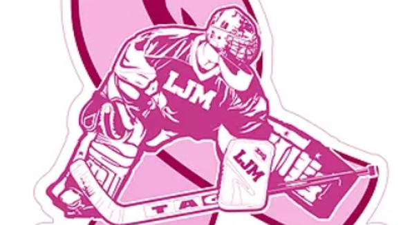 Goalies wearing this helmet sticker will be raising  money for cancer research with each shutout.