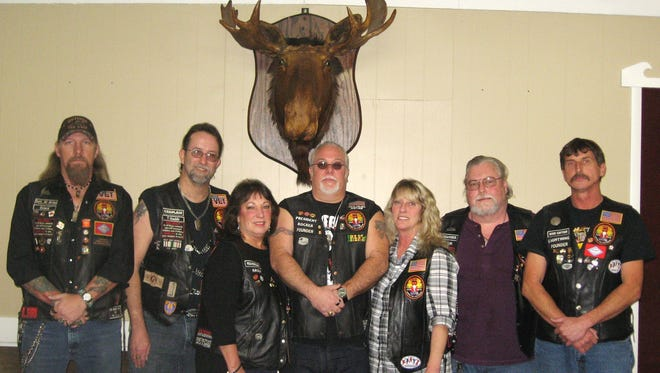 The Mountain Home Moose Riders announced new officers, from left, Dave Albrecht, Thaddeus Workman, Kathy Davidson, Richie Yanke, Sherry Powell, Brian Andrus and Nile Sexton. Moose Riders are an activity group of the Mountain Home Moose Lodge and are striving to be a better community service program. Any interest in the group or the Moose organization may contact Richie Yanke at (870) 421- 6401 or call the Moose at (870) 491-5696.