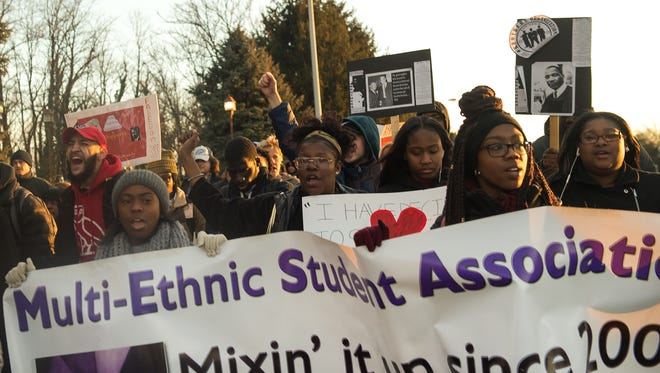 Students, faculty and locals chant and march in the Dr. Martin Luther King Jr. March for Humanity at Shippensburg University on Thursday, Feb. 2, 2017.  This the 30th year for the march and is in remembrance of MLK.