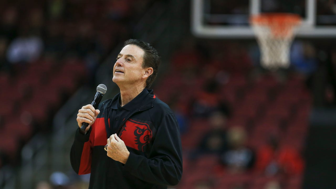 Louisville basketball coach Rick Pitino fields questions from reporters after his team's preseason scrimmage on Oct. 21, 2016.