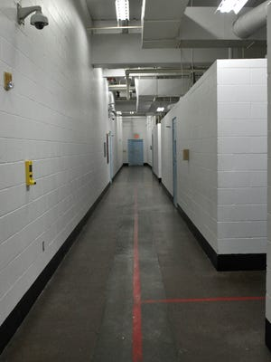 Corridors separate jail cells for lower and higher level inmate offenders at the Wichita County Jail Sprague Annex.