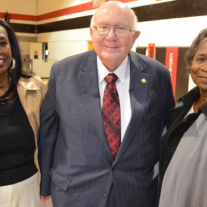 Linda Williams Cross, Carey President Tommy King and Vermester Jackson Bester at a March 5 dedication ceremony for the Jackson-Williams Garden.