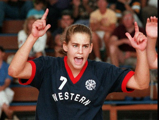 The Western team's Tara Haefner of Pittsford celebrates victory near end of a game against Hudson Valley, Saturday, August 6,1994, in Syracuse. The Western team won the gold by winning the first three games in a best of five series in the Scholastic Womens volleyball game.  (Staff Photo /Melissa Mahan)