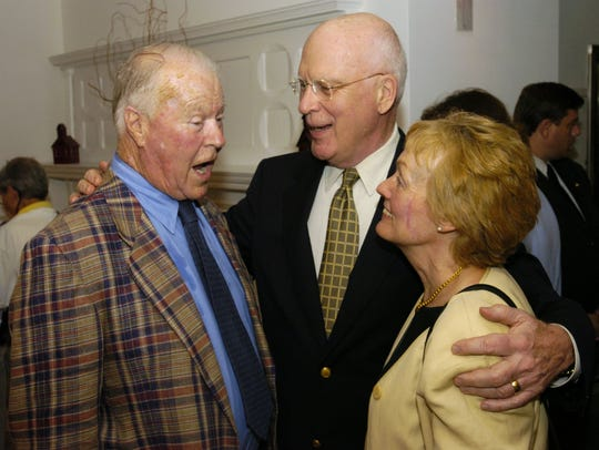 Sen. Patrick Leahy, D-Vt., and his wife Marcelle greet