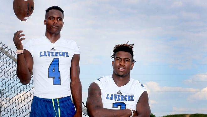 La Vergne football players, Maleik Gray, left, and Princeton Fant, are photographed at the school on Monday, June 20, 2016, are both University of Tennessee committments.