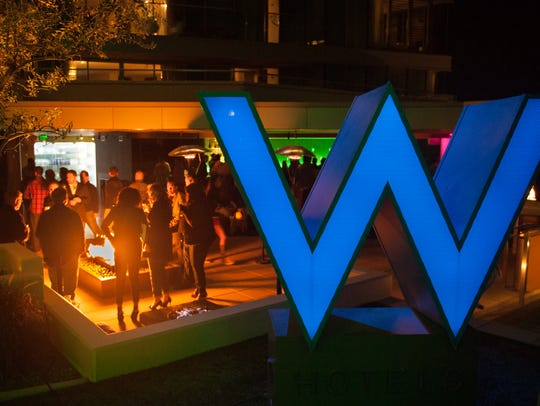 The W glows in the night during the 6th Annual Golf