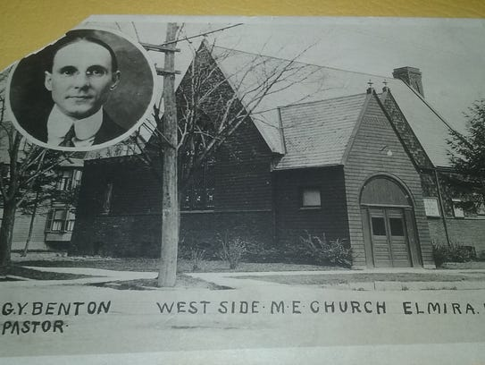 A postcard with Westside Methodist's first pastor and