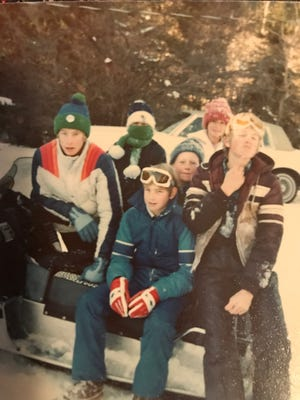 The Johnson and Hauck families were best of friends years ago in Big Timber. Pictured in this 1982 photograph are, front row from left, Bobby Hauck, Tim Hauck and Mike Johnson. Back row from left are Katie Hauck, Jeff Johnson and Kay Johnson.