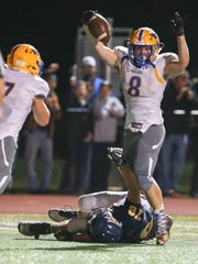 Mason Frampton scores for the Waynesboro Indians during the Greencastle game.