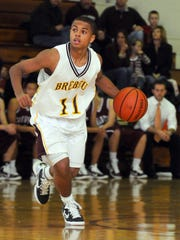 P.J. Thompson played all four seasons for Brebeuf. This picture is from 2010, when he played against Culver.