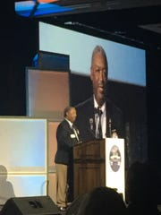 Pensacola's Billy Brent delivers speech on Nov. 11, 2017 after being honored as the national First Tee volunteer of the year at 2017 awards banquet in Orlando aired on The Golf Channel.