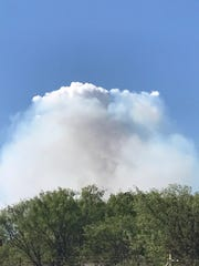 Smoke from the Conner Fire in Eastland County Thursday,