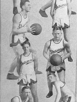 The 1925-26 Shawnee High School Basketball team was considered as a team loaded with talent that lacked consistency. They were reputed as one of the most prolific scoring teams in the entire state. (left side, top to bottom) Otho Newman, John Hill, Bruce Curtright, Roy Crawford. (right side) Walter Turner,captain Max Timmons, FrankCunningham, and Clifton Shearer.