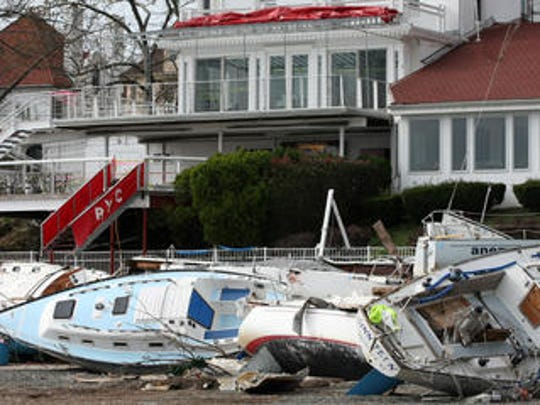 Damaged boats at Raritan Yacht Club after Superstorm