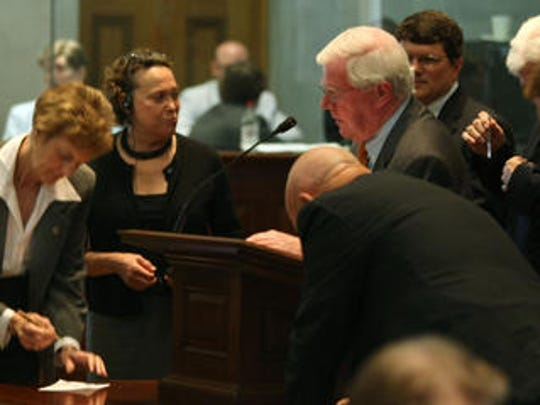 State Rep. Charles Sargent of Franklin is surrounded by supporters of his bill to expand TNInvestco during a session of the state legislature on June 4, 2010, in Nashville.