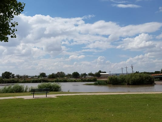 Water flows near La Llorona Park in Las Cruces