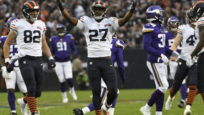 Sep 29, 2019; Chicago, IL, USA; Chicago Bears defensive back Sherrick McManis (27) gestures after making a tackle against the Minnesota Vikings during the second half at Soldier Field.