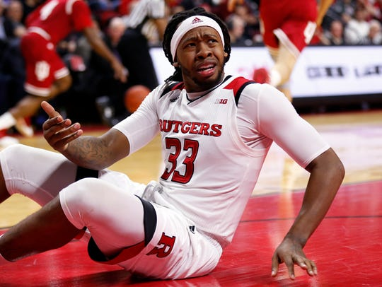 Rutgers forward Deshawn Freeman reacts looking for