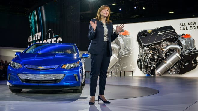 General Motors CEO Mary Barra introduces the 2016 Chevrolet Volt electric car with extended range during its world debut Jan. 12, 2015 at the North American International Auto Show in Detroit. The next-generation Volt is sleeker, quicker and goes on sale the second half of 2015.