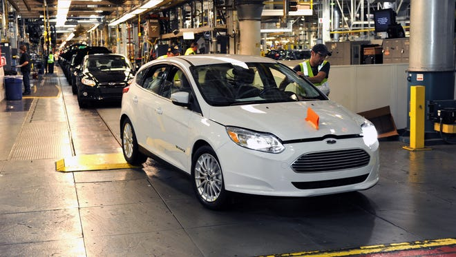 The electric version of the Focus comes off the line at Ford's Michigan Assembly Plant in this 2012 file photo