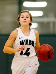 "Webb's Casey Collier (14) dribbles down the court during a game between Webb and Grace Christian on Jan. 19. ""We don't win on the court without her,"" said her mom, coach Shelley Collier. ""She's a point guard. She's a leader."""