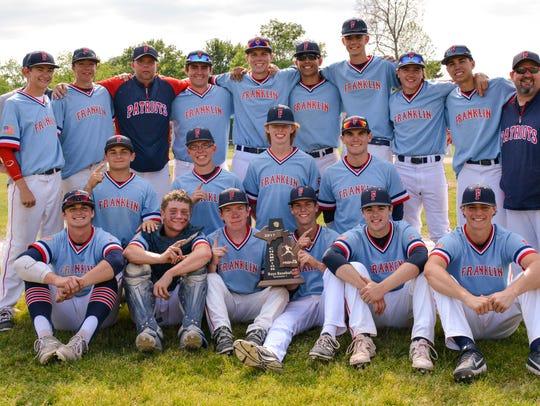Livonia Franklin's varsity baseball team Saturday celebrates