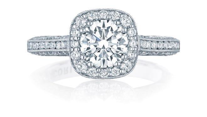 "A Tacori ring with ""halo"" diamonds."
