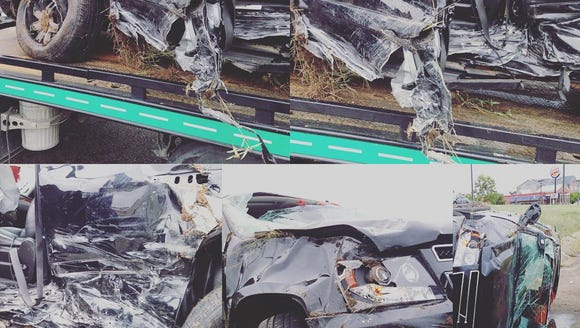 Pictures of the aftermath following the car accident