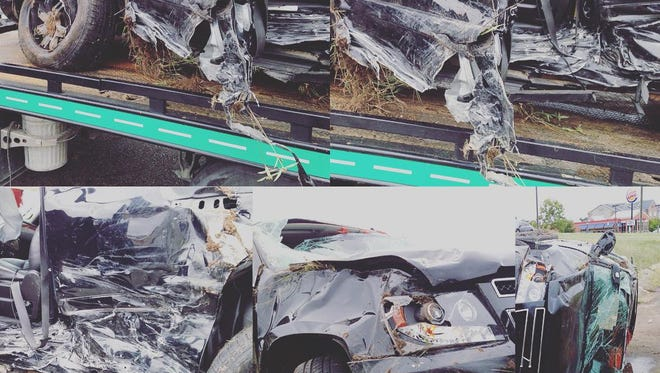 Pictures of the aftermath following the car accident involving Auburn tight end and Montgomery native Jalen Harris.