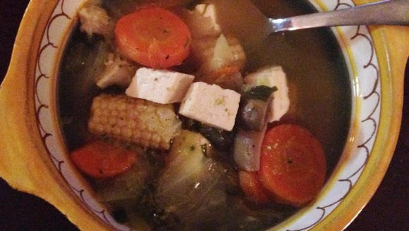 Homemade vegetable soup with tofu, by reporter Laura