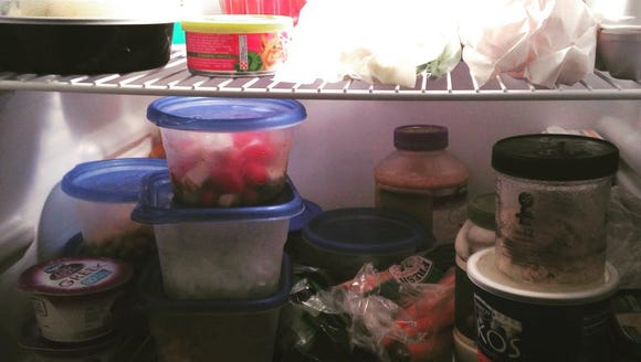 A fridge full of fresh food for reporter Laura Peters.