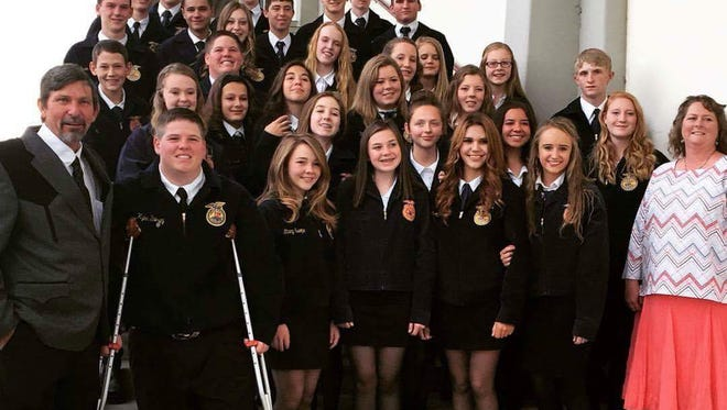 Members of the Deming High School Future Farmers of America (FFA) pose for a group shot following a Career Development Event held in Las Cruces April 6-9.