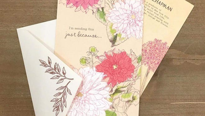 One of the cards from Cannaday Chapman's line of greeting cards from American Greetings. The cards are sold at Target.