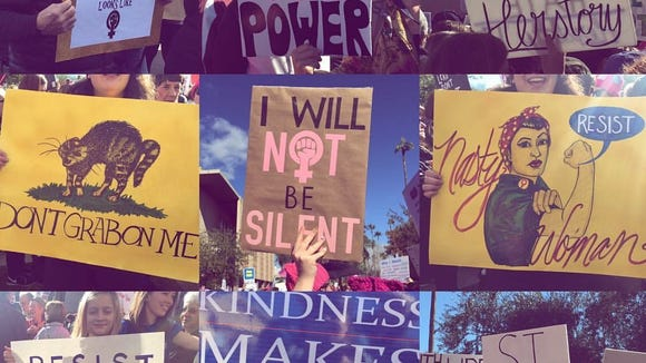 Signs at the Women's March on Washington outside the state Capitol in Phoenix, Arizona.