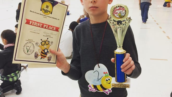 Gavin Miller placed first in the spelling bee at Rieck Avenue School in Millville, which was sponsored by the Millville Woman's Club.