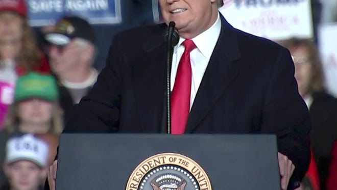 President Donald Trump at a rally in Wisconsin Oct. 24, 2018.
