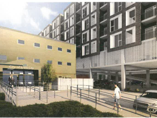 This rendering shows the rear entrance of City Hall,