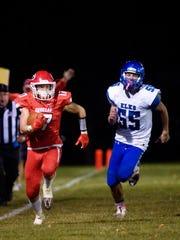 Gregory running back Caleb Stukel (17) runs down the